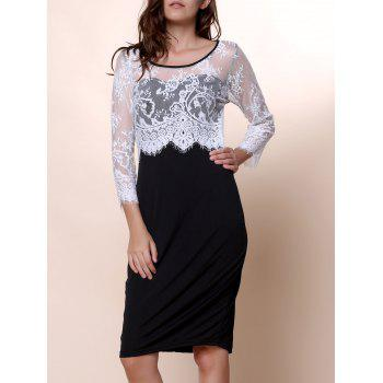 Scoop Neck 1 2 Sleeve Lace Spliced Bodycon Dress For Women