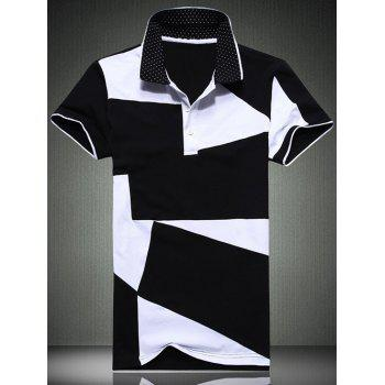 Buy Plus Size Men's Turn-Down Collar Color Block Short Sleeve Polo T-Shirt BLACK