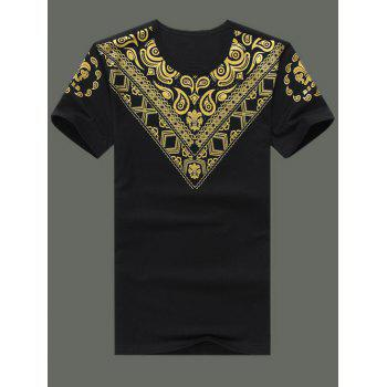 Plus Size Men's Round Neck Printed Short Sleeve T-Shirt