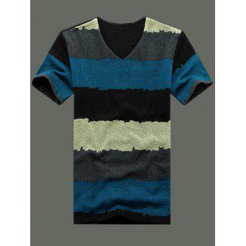 Stylish Plus Size V-Neck Striped Color Block Short Sleeve T-Shirt For Men