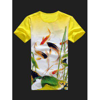 Plus Size Men's Round Neck Fishes Playing Lotuses Print Short Sleeve T-Shirt