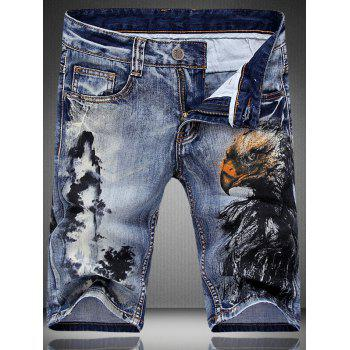 Men's Fashion Zip Fly Mountain Printed Denim Shorts