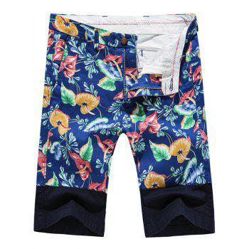 Fashion Zip Fly Plant Printed Men's Shorts
