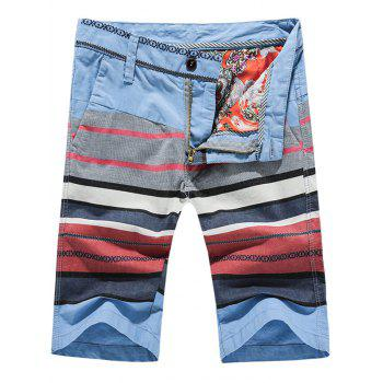 Fashion Zip Fly Striped Printed Men's Shorts