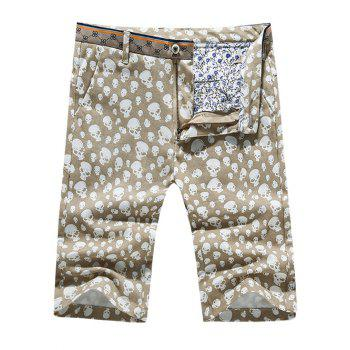 Men's Casual Pokets Skull Printed Zip Fly Shorts