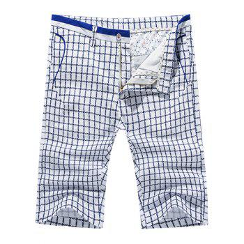 Men's Casual Pokets Plaid Zip Fly Shorts
