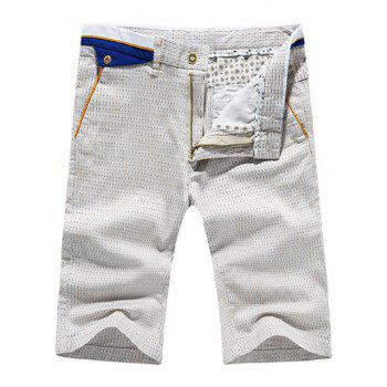 Men's Casual Dot Printed Zip Fly Shorts