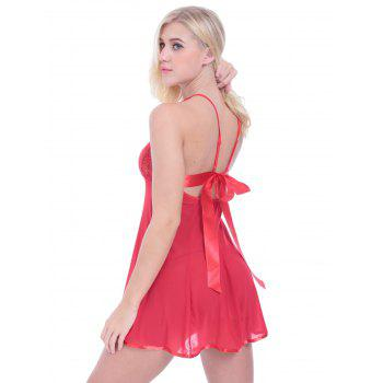 Lace Inset See Through Babydoll With G-String - RED RED