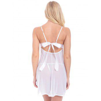 Lace Inset See Through Babydoll With G-String - WHITE WHITE