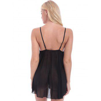 Lace Insert See Through Babydoll With G-String - BLACK BLACK