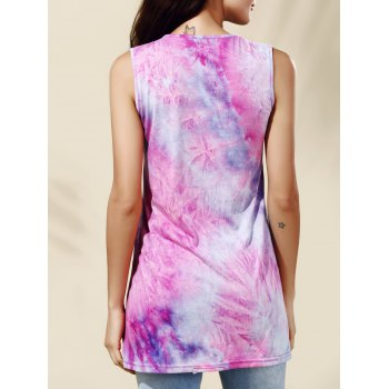 Tank Dress Chic Tie Dye Jewel Neck pour les femmes - multicolore L