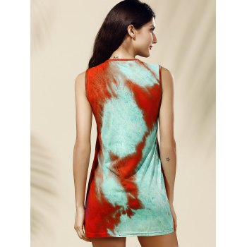 Chic Tie Dye Print Jewel Neck Tank Dress For Women - COLORMIX M