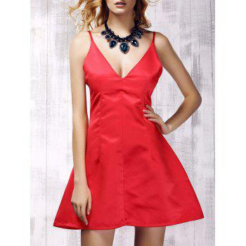 Spaghetti Strap Red Backless Slimming Women s Dress