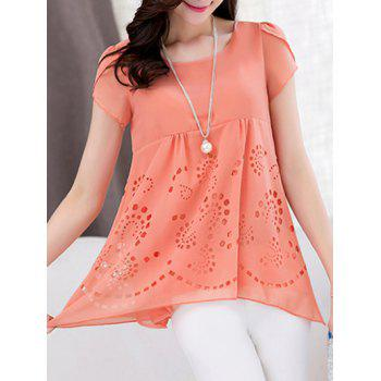 Trendy Women's Scoop Neck Short Sleeve Pure Color High Low Blouse - M M