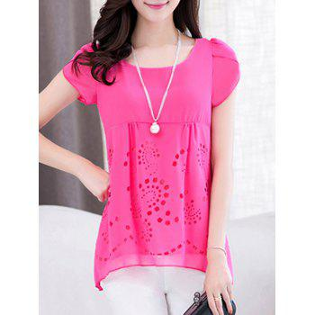 Scoop Neck Short Sleeve Pure Color High Low Women s Blouse
