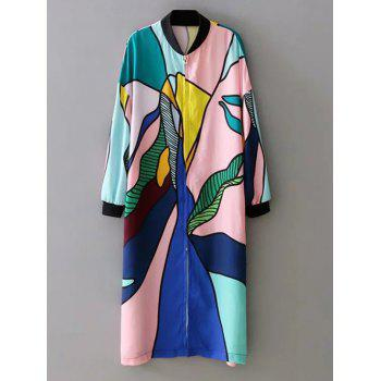 Trendy Stand Collar Zipper Design Printed Hit Color Women's Thin Coat