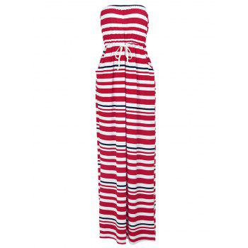 Stylish Drawstring Waist Strapless Striped Women's Maxi Dress
