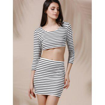 Stylish Women's Scoop Neck 3/4 Sleeve Crop Top and Striped Skirt Set - BLACK L