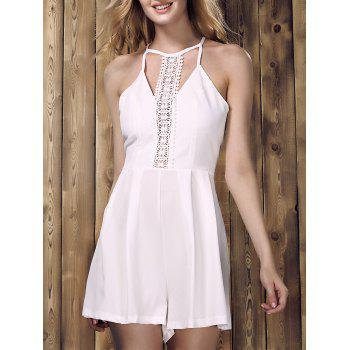 Chic Sleeveless Hollow Out Solid Color Lace Spliced Women's Romper