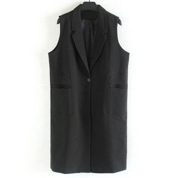 Notched Collar Longline Plus Size Waistcoat