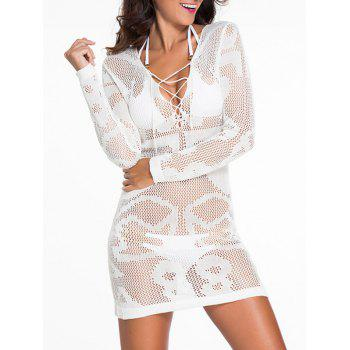 Low Cut Lace-Up See-Thru Cover-Up