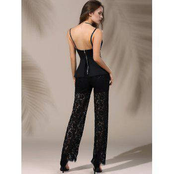 Chic Plunging Neck Laced Flounce Jumpsuit For Women - BLACK S