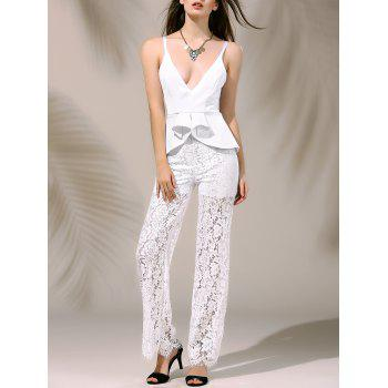 Chic Plunging Neck Laced Flounce Jumpsuit For Women