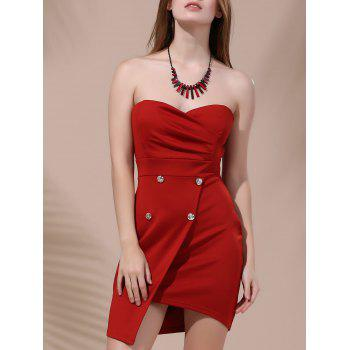 Short Strapless Asymmetrical Dress