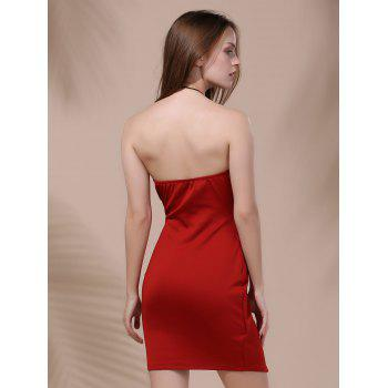 Short Strapless Asymmetrical Dress - DEEP RED M