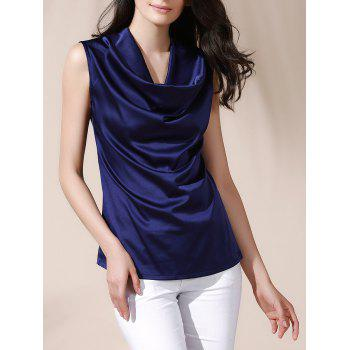 Cowl Neck Solid Color Sleeveless Women s Blouse