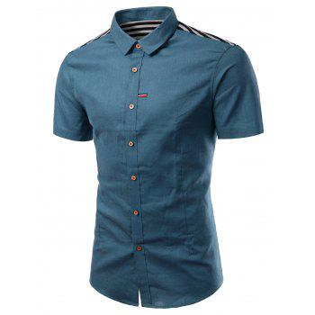 Solid Color Turn-Down Collar Stripe Splicing Design Short Sleeve Men's Shirt