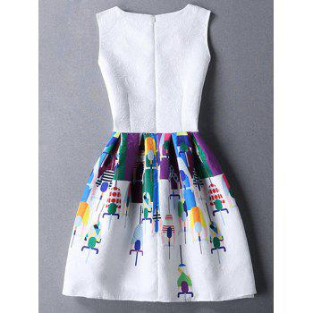 Fashion Printed Jacquard Round Collar Sleeveless Dress For Women - WHITE XL
