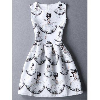 Ladylike Sleeveless Round Collar Girl Print Dress For Women