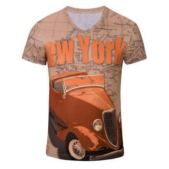 Casual Car Letter Printed Men's Short Sleeves T-Shirt