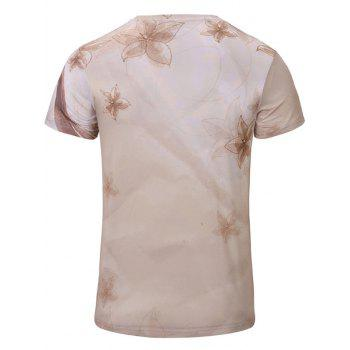 Casual Flower Printed Men's Short Sleeves T-Shirt - YELLOWISH PINK S