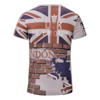 Casual 3D Wall Printed Men's Short Sleeves T-Shirt - COLORMIX S