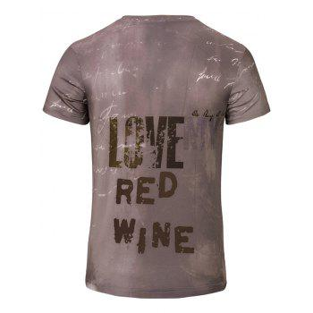 Casual 3D Winebottle Printed Men's Short Sleeves T-Shirt - COLORMIX S