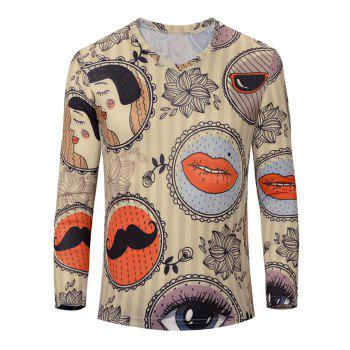Casual Lips Printed Men's Long Sleeves T-Shirt