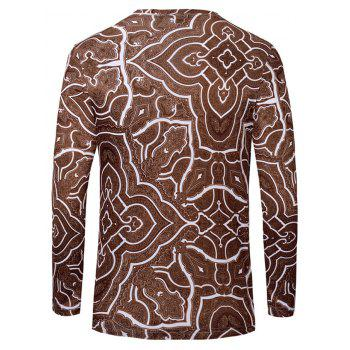 Casual Geometric Figure Printed Men's Long Sleeves T-Shirt - DEEP BROWN S