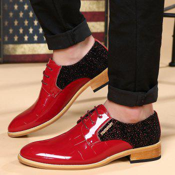 Trendy Colour Block and Patent Leather Design Men's Formal Shoes - RED 42