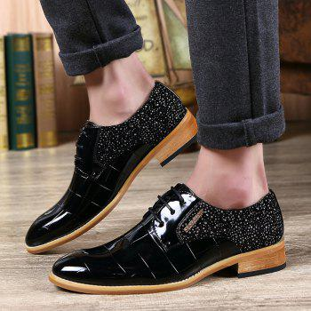 Fashionable Splicing and Black Color Design Men's Formal Shoes - 41 41