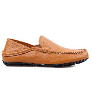 Casual Stitching and Round Toe Design Men's Loafers - BROWN 42