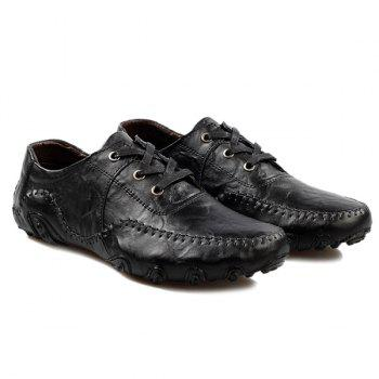 Fashionable Stitching and Lace-Up Design Men's Casual Shoes - BLACK 38