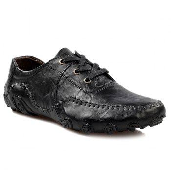 Fashionable Stitching and Lace-Up Design Men's Casual Shoes - BLACK 43