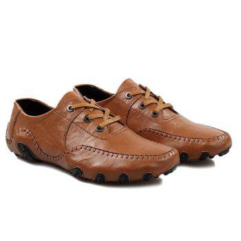 Fashionable Stitching and Lace-Up Design Men's Casual Shoes - BROWN 40