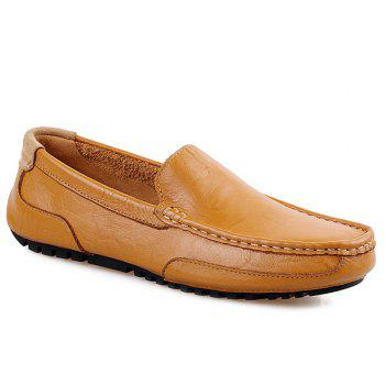 Simple Round Toe and Stitching Design Men's Loafers - LIGHT BROWN 43