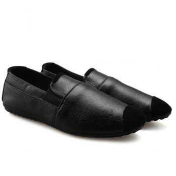 Casual Black and Elastic Design Men's Loafers - 43 43