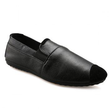 Casual Black and Elastic Design Men's Loafers - BLACK 43