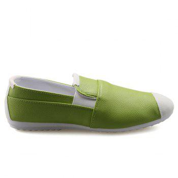 Casual Color Block and Elastic Design Men's Loafers - GREEN 42