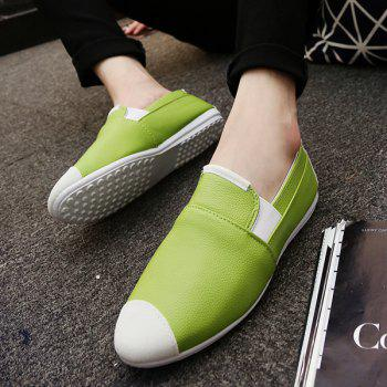 Casual Color Block and Elastic Design Men's Loafers - GREEN GREEN